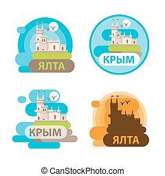ville, yalta, ensemble, nid, -, symbole, vecteur, crimea., russia., skyline., château, voyage, swallow's, icône