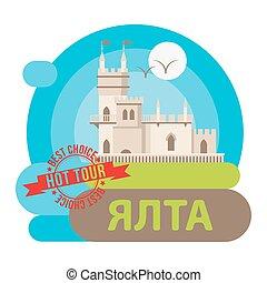 ville, yalta, -, symbole, lflat, vecteur, crimea., icon., swallow's, russia., skyline., château, nid
