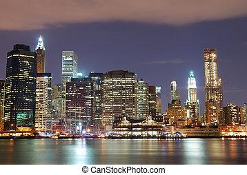 ville, york, gratte-ciel, nouveau, nuit