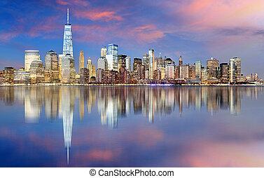 ville,  York, nuit, nouveau, Horizon,  Manhattan