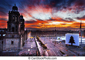 ville, zocalo, métropolitain, mexique, cathédrale, levers de soleil
