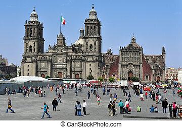 ville, zocolo, mexique