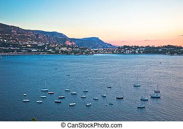 Villefranche sur Mer idyllic French riviera bay and Cap Ferrat sunrise view, Alpes-Maritimes region of France