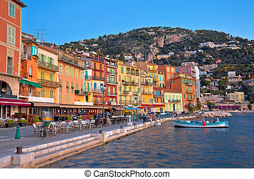 Villefranche sur Mer idyllic French riviera town dawn view, Alpes-Maritimes region of France