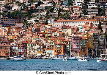 Villefranche sur Mer resort town on French Riviera in France, Old Town houses at the Mediterranean Sea