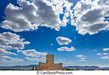 Villena Castle wide view with clouds and blue sky