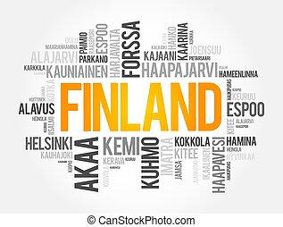 villes, finlande, collage, mot, nuage, liste, villes