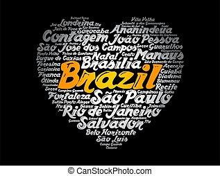 villes, mot, brésil, nuage, liste, coeur