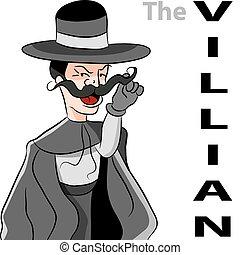 villian, moustache, mal, homme