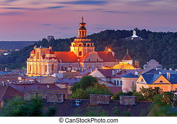 Scenic view of the city in the night illumination. Vilnius. Lithuania.