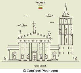 Vilnius Cathedral, Lithuania. Landmark icon