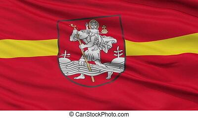 Vilnius City Close Up Waving Flag