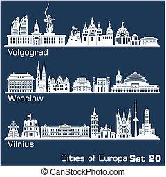 vilnius., detallado, wroclaw, europa, volgograd, ciudad,...