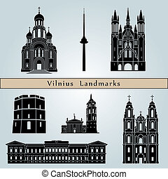 Vilnius landmarks and monuments isolated on blue background in editable vector file