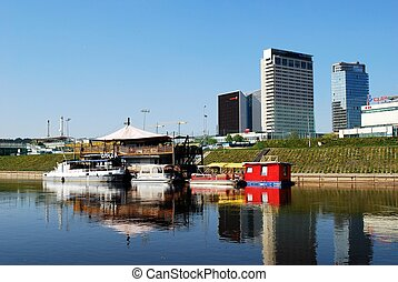 Vilnius ships in the Neris river on April 26, 2014 - VILNIUS...