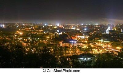Vilnius, Lithuania night time lapse - Vilnius, Lithuania...