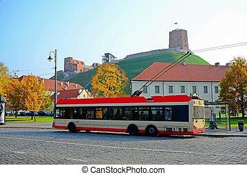 Trolley in Vilnius city street on October 12, 2014