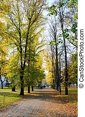 Walking in the park of Cathedral square in Vilnius city