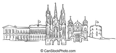 Vilnius Lithuania Panorama Sketch