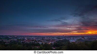 VILNIUS, LITHUANIA - timelapse view of Vilnius city in the evening
