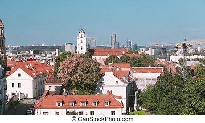 Vilnius, Lithuania. Top View Of Catholic Church Of St. Johns...