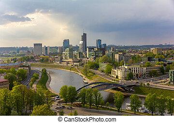 vilnius, lithuania., tower., cityscape, gediminas', vista