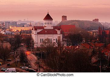 vilnius, lituania, noche