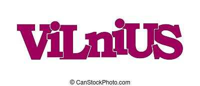 Vilnius. Name of the capital of Lithuania, purple color
