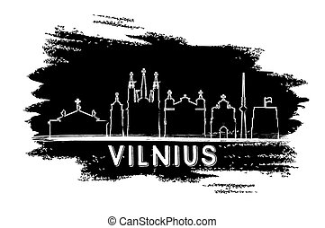 Vilnius Skyline Silhouette. Hand Drawn Sketch.
