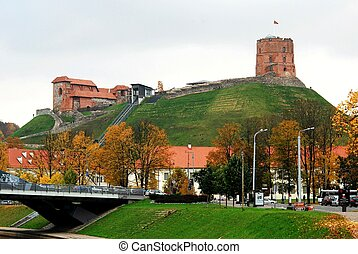 Vilnius, Tower of Gediminas, symbol of Vilnius. Autumn in Lithuania.
