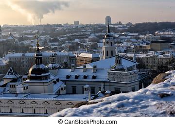vilnius., tower., vilnius, lituania, castillo, invierno, ...