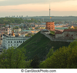 Vilnius. Upper castle and TV Tower - Vilnius, Lithuania....
