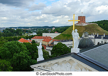 Vilnius, view at Cathedral of St. Stanislaus and St. Vladislav and Gediminas Tower