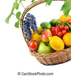 vime, legumes, isolado, frutas, cesta,  backg, branca