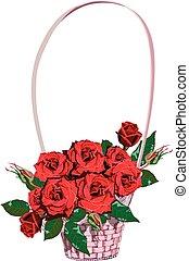 vimine, cesto floreale, con, rose rosse