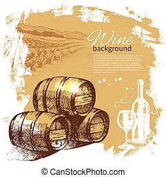vin, årgång, bakgrund., hand, oavgjord, illustration.,...