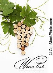 vin, begreb, liste, konstruktion