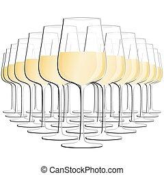 vin blanc, lunettes