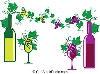 vin, blanc, vecteur, rouges