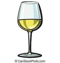 vin, blanc, verre