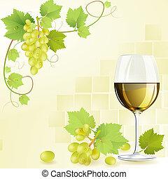 vin blanc, verre, raisins