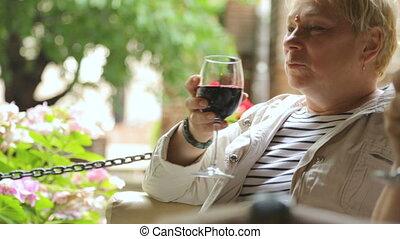 vin, boire, femme, café, rue