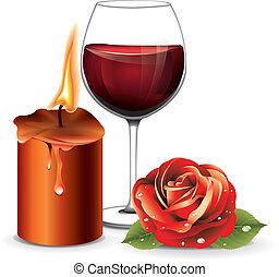 vin, bougie, rose