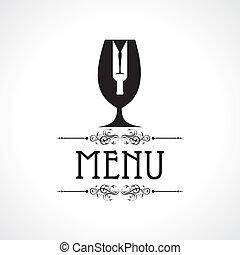 vin, carte, bouteille, menu, &, verre