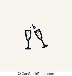 vin, champagne, réunion, romantique, glasses.