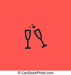vin, champagne, romantique, lunettes, red.