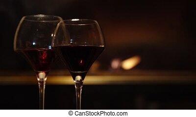 vin, cheminée, lunettes, couple, sur