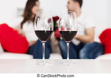 vin, dag, röd, valentinkort