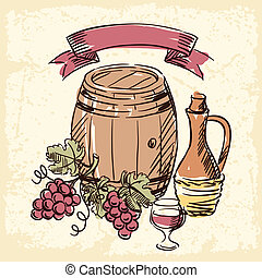 vin de grand cru, dessiné, illustration., main