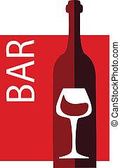 vin, et, verre, vecteur, conception, gabarit